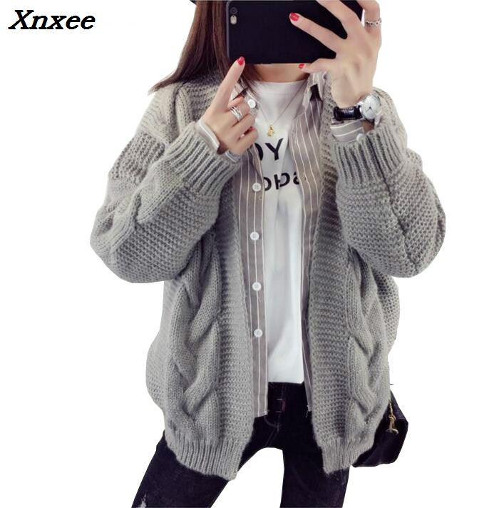 2018 Women Sweater Tops Vintage Ladies Cardigans White Pull Femme Winter Casual Xnxee