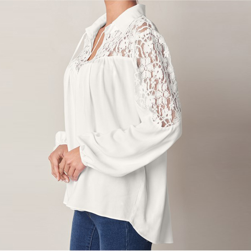 ZANZEA 2018 Summer Autumn Women Lapel Long Sleeve Blouse Solid Lace Crochet Shirt Casual Baggy Blusas Office White Top Plus Size 1