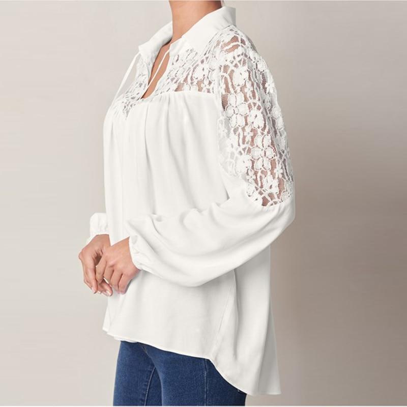 ZANZEA 2018 Summer Autumn Women Lapel Long Sleeve Blouse Solid Lace Crochet Shirt Casual Baggy Blusas Office White Top Plus Size 1