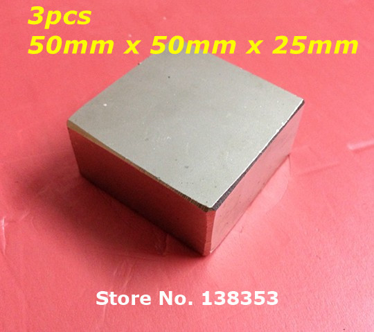 Wholesale 3pcs Super Strong Neodymium Square Block Magnets 50mm x 50mm x 25mm N35 Rare Earth NdFeB Cuboid Magnet 2pcs bulk strong ndfeb countersunk block magnets 40mm x 40mm x 20mm with single hole n35 neodymium square cuboid magnet