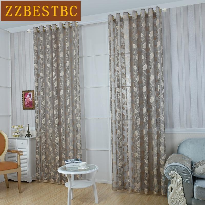 Modern Minimalist Leaf Pattern Jacquard Tulle Curtains For