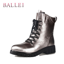 BALLEI Fashion Woman Winter Ankle Boot Vintage Luxury Genuine Leather Retro Round Toe Shoe Soft Low Heel Lace-up Zipper B13