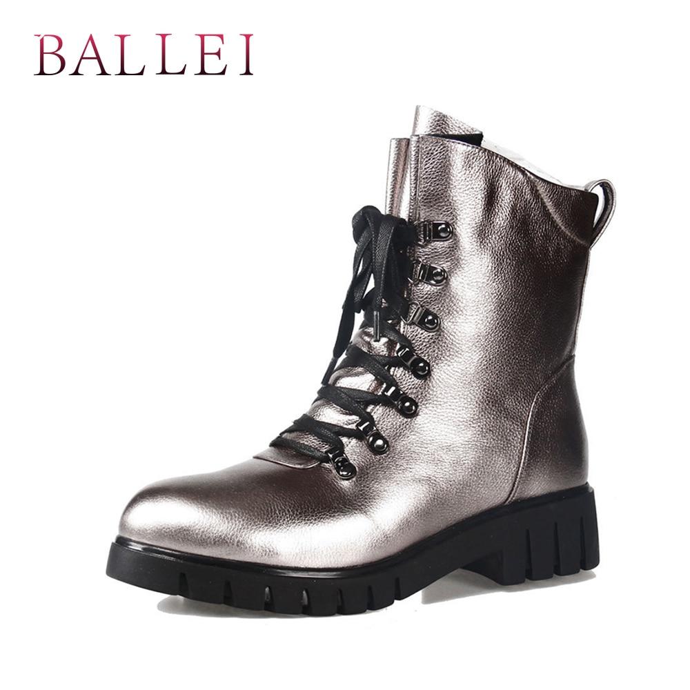 BALLEI Mode Frau Winter Ankle Boot Vintage Luxus Echtem Leder Retro Runde Kappe Schuh Weiche Niedrigen Ferse Lace up zipper Boot B13-in Knöchel-Boots aus Schuhe bei  Gruppe 1