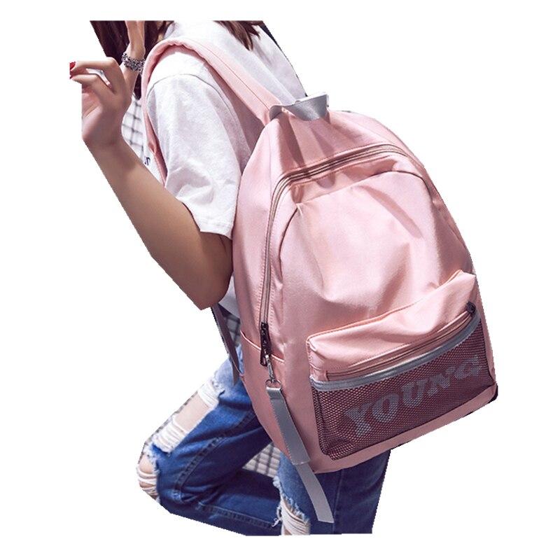 Coréenne Tissu Imperméable Sac À Dos de Mode pour Femmes En Cuir PU Sac À Dos pour les Adolescentes Garçons Grande École Sacs Voyage Q157