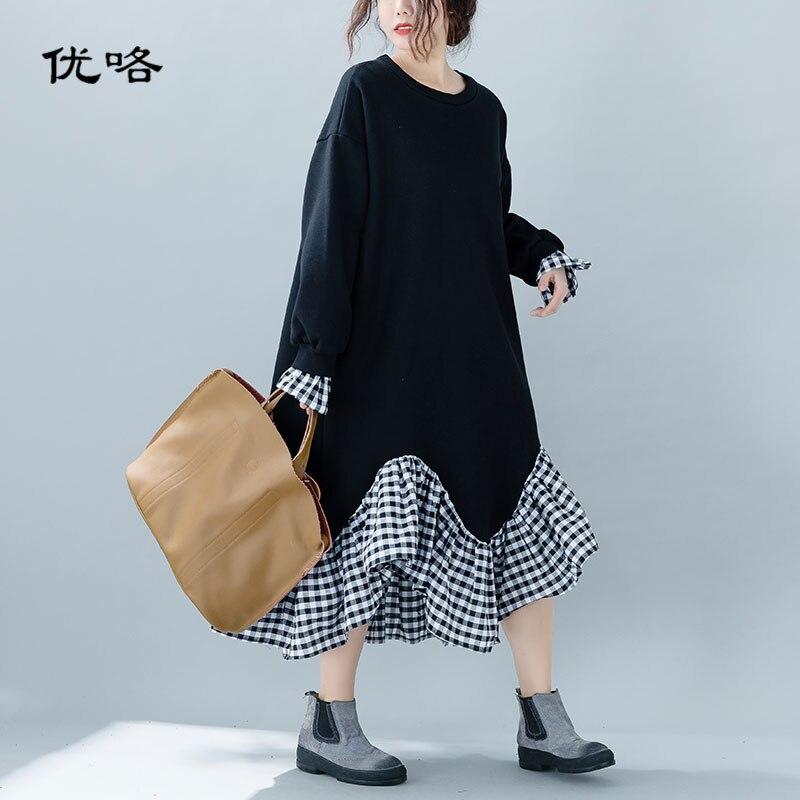 Women Korea Velvet Sweatshirt Dress Plus Size Patchwork Fake Two Piece Dress Cotton Femme Loose Ruffles
