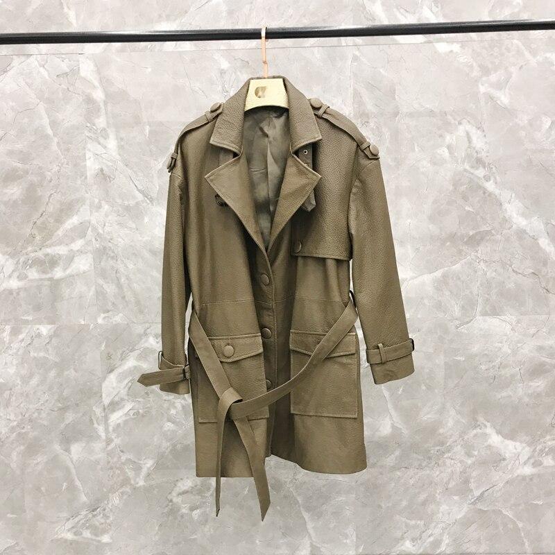 Manteau Grande En Black Femmes Cuir La De Printemps light 2019 Version Veste Véritable Longue Brown Taille Section Lâche BwzOqS0