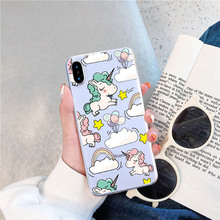 LAUGH LIFE  Cartoon Unicorn Phone Case For iPhone 7 8 XR XS max X Luxury Cute Soft Tpu Cover for 6 7p 8p