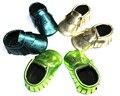 Новый 2016 Металлик Флуоресцентный Зеленый Детские Мокасины обувь из натуральной кожи Мягкие Новорожденных первый ходунки дети мальчик Младенческой бахромой Обувь