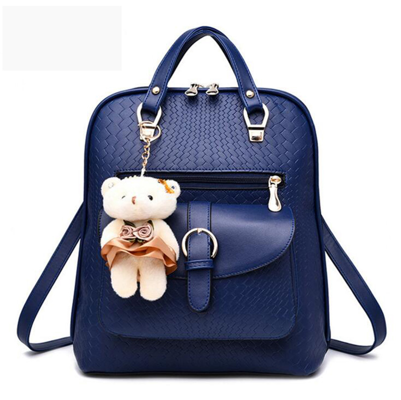 Women Backpacks Famous Brands Fashion Solid Lock Lady Shoulder Bags With Bear School Knapsack Teenager Girls