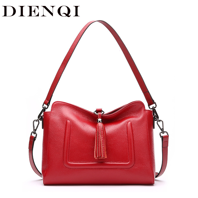 DIENQI Soft Genuine Leather Tassel Hobos Bags Women Handbags New Arrival 2018  Female Shoulder Bags Small a08ed486f65c3