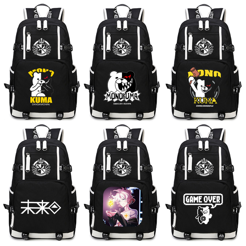 Danganronpa monokuma Backpack Anime Komaeda Nagito Cosplay Hinata Hajime Nylon School Bag Travel Bags 2017 harajuku danganronpa trigger happy havoc kawaii monokuma cosplay blue luminous printing canvas women backpack school bags