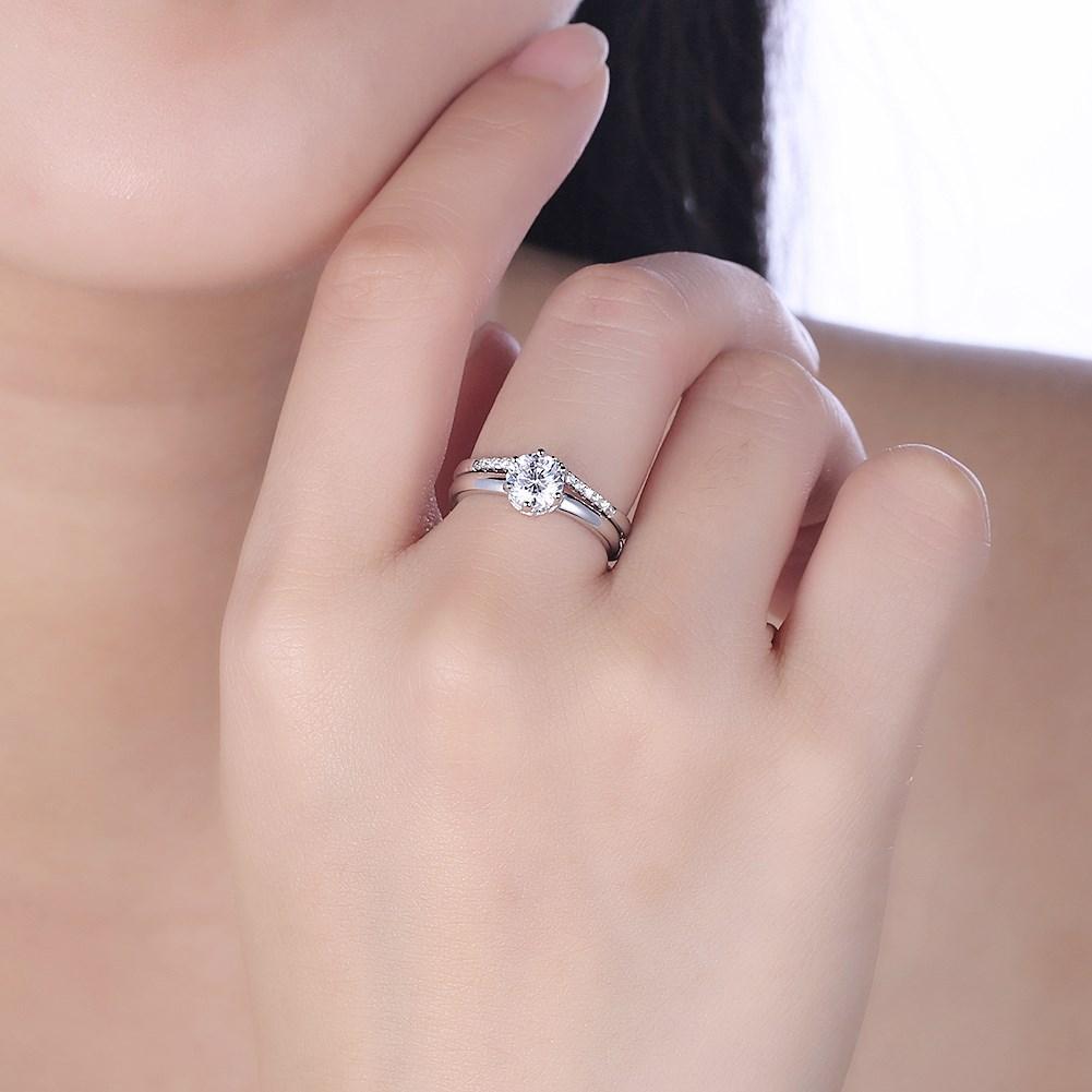 MUTO Rose & White Korean Silver Crown Ring CZ Open Ring zircon Aros ...