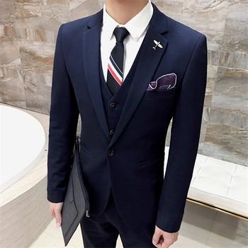 2017 High Quality Men black tuxedos men suit 3 pieces mens formal suits costume homme wedding suits for men costume homme