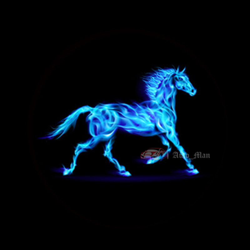 2x Car Door Welcome Laser Projector 3D Blue Flaming Horse Logo Ghost Shadow Puddle LED Light For Ford Mustang #C1402