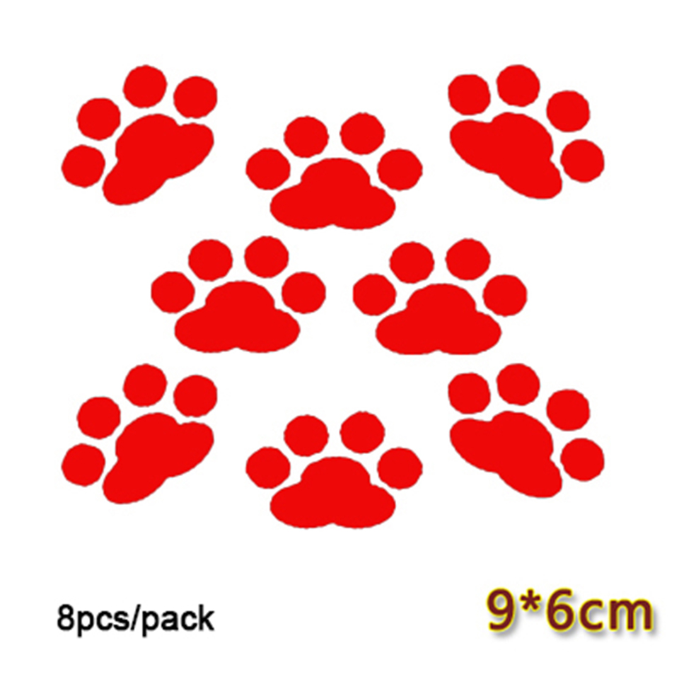 Image 2 - 8 pcs/lot Car Window Bumper Body Decal Sticker Bear Dog Paw Foot Prints Black Red White OCT 21-in Car Stickers from Automobiles & Motorcycles