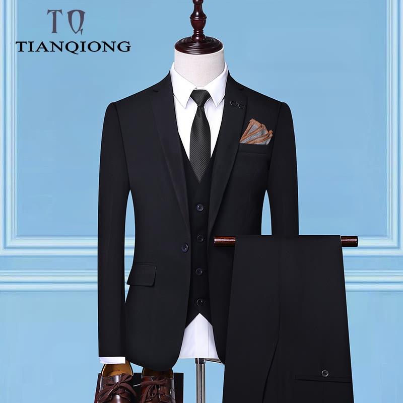 (Jacket + Pant + Vest)2019 New Men Business Slim Suits Sets Wedding Dress Three-piece Suit Blazers Coat Trousers Waistcoat