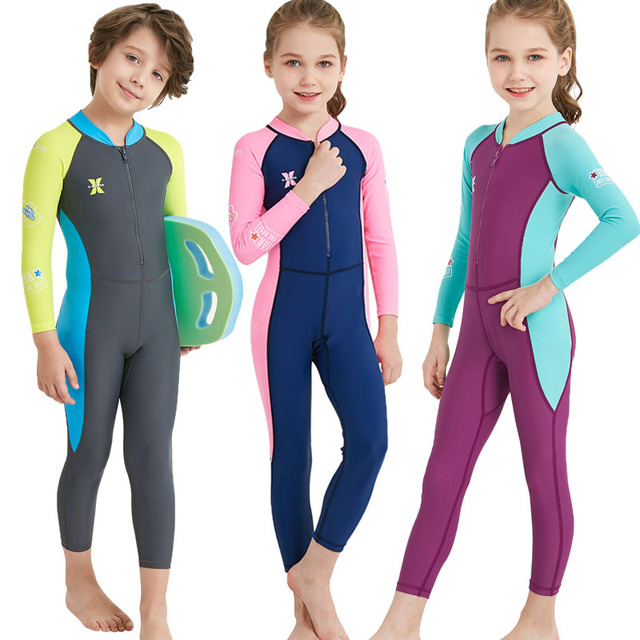 78601c46d8 Long Sleeve UV Protection Warm Swimsuit Kids Thermal Swimwear Boys Girls  Diving Suits Summer Rash Guards