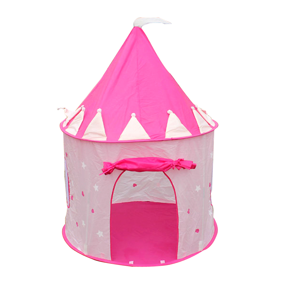 Pink Foldable Children's Tent Prince Folding Kids Tent to Play Boy Girl Castle Cubby House Kids Outdoor Toy Tents Gifts 3 colors play tent portable foldable tipi prince folding tent children boy castle cubby play house kids gifts outdoor toy tents