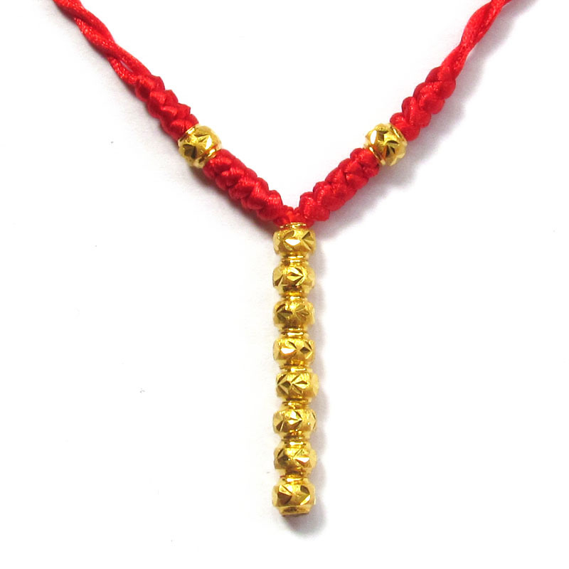 New Arrival Pure 24K Yellow Gold Necklace Handmade Weave Red String Beads Necklace 1.5g