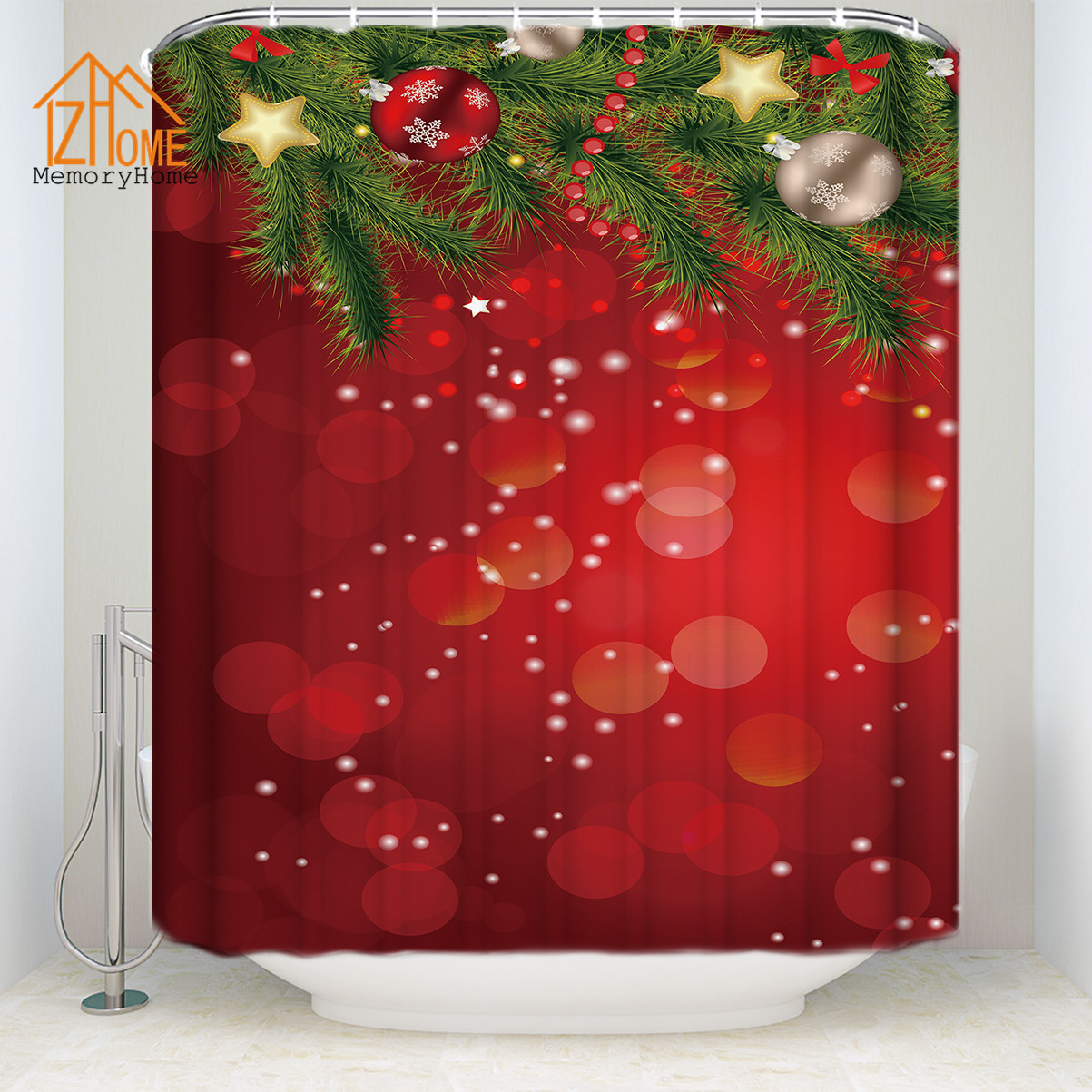 Bath Shower Curtains Retro Red Truck And Christmas Tree