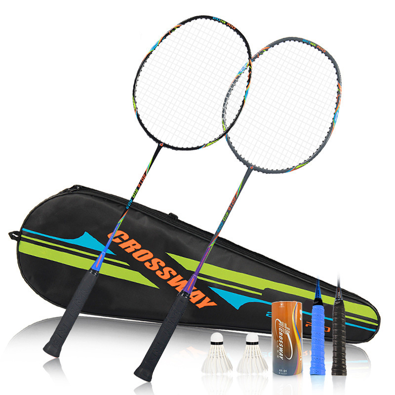 Badminton Racket Moderate Training Carbon Sets Racquet with Carry Bag Durable Badminton  ...