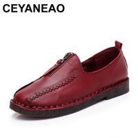 CEYANEAO Women Flat Loafers Ladies Elegant Genuine Leather Moccasin Shoes Woman Handmade Casual Shoes Flats Fashion Women shoes