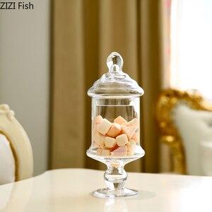 Image 4 - ヨーロッパスタイル透明ガラスキャンデーの瓶とガラスカバー結婚式のデザートディスプレイスタンドホームキャンディー貯蔵タンク
