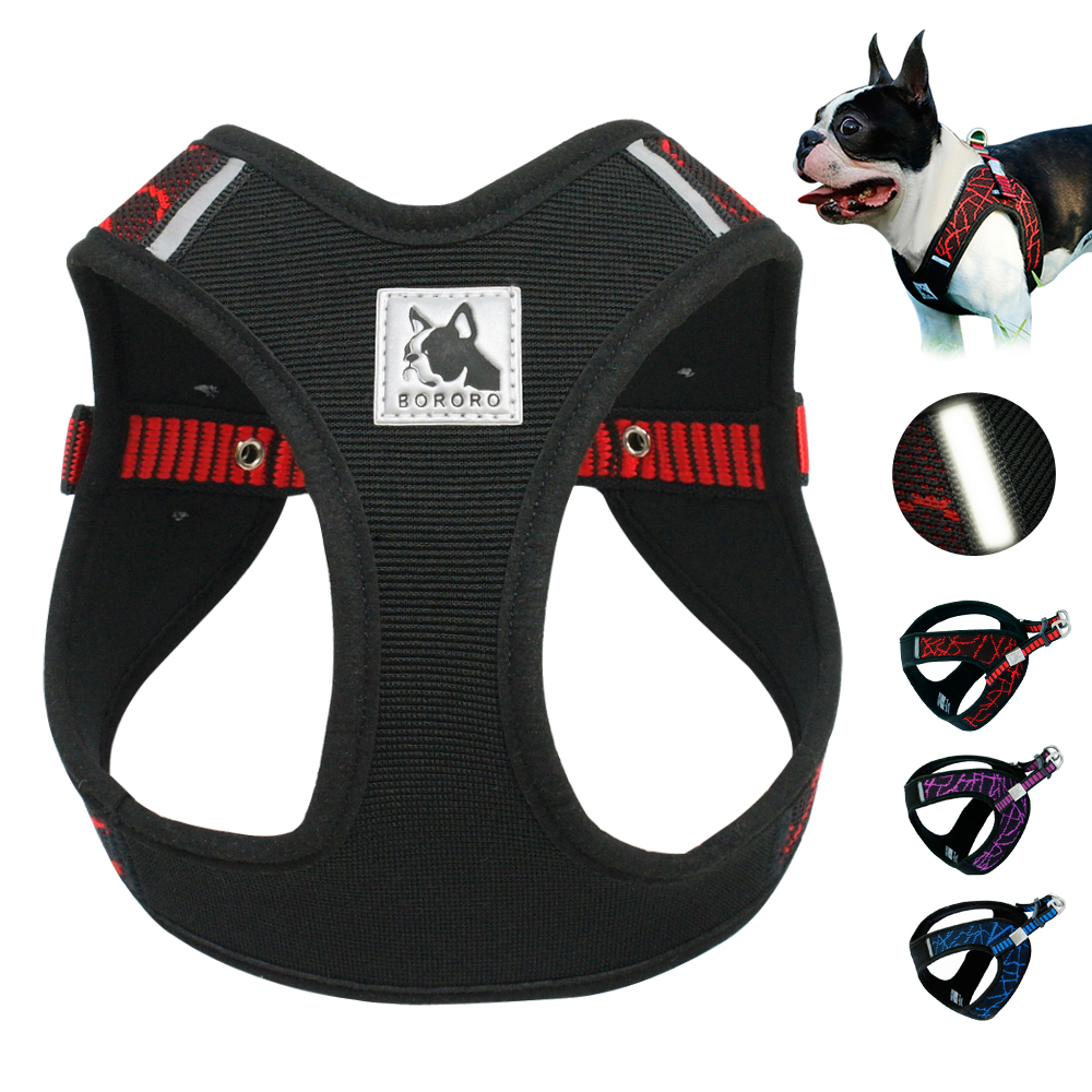No Pull Mesh Dog Harness Dogs Harness Vest 3M Reflective Nylon Adjustable Step-in Pet Harnesses For French Bulldog Pitbull