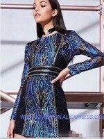 Роскошные Дизайнерские летние синие блестки Bodycon платье Для женщин 2018 Сексуальная длинным рукавом Бисер Вечеринка мини платья Vestidos туника