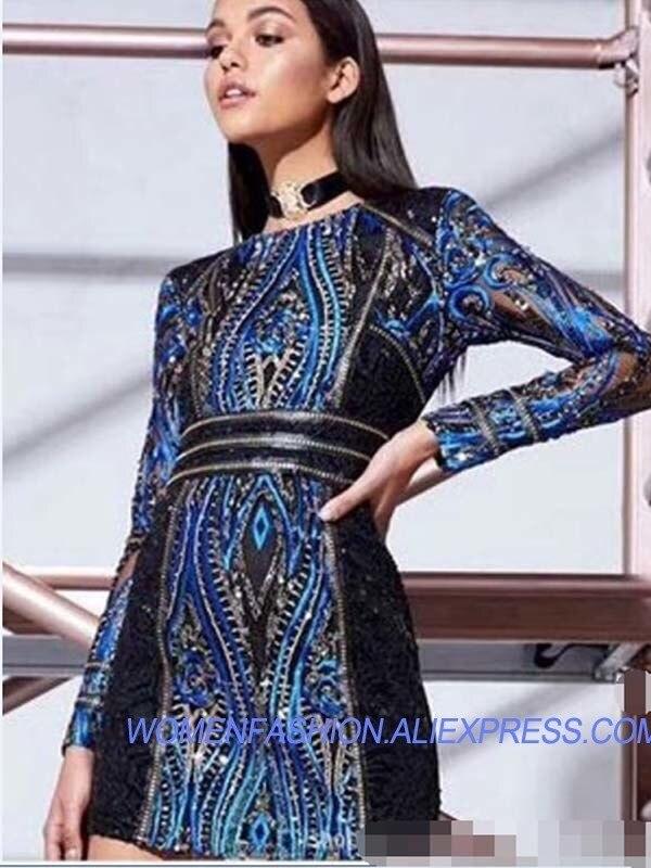 Longues Soirée Bleu Manches Luxe De Perles D'été Mini Robes À Paillettes Moulante Tunique 2018 Designer Femmes Sexy Robe HqnFxn7