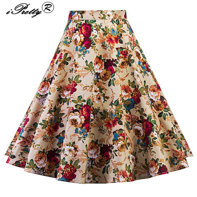 50s 60s Vintage Woman Retro Skirt Floral Print Rockabilly Swing High Waist A Line Skirts Knee-Length ball gown Party skirts