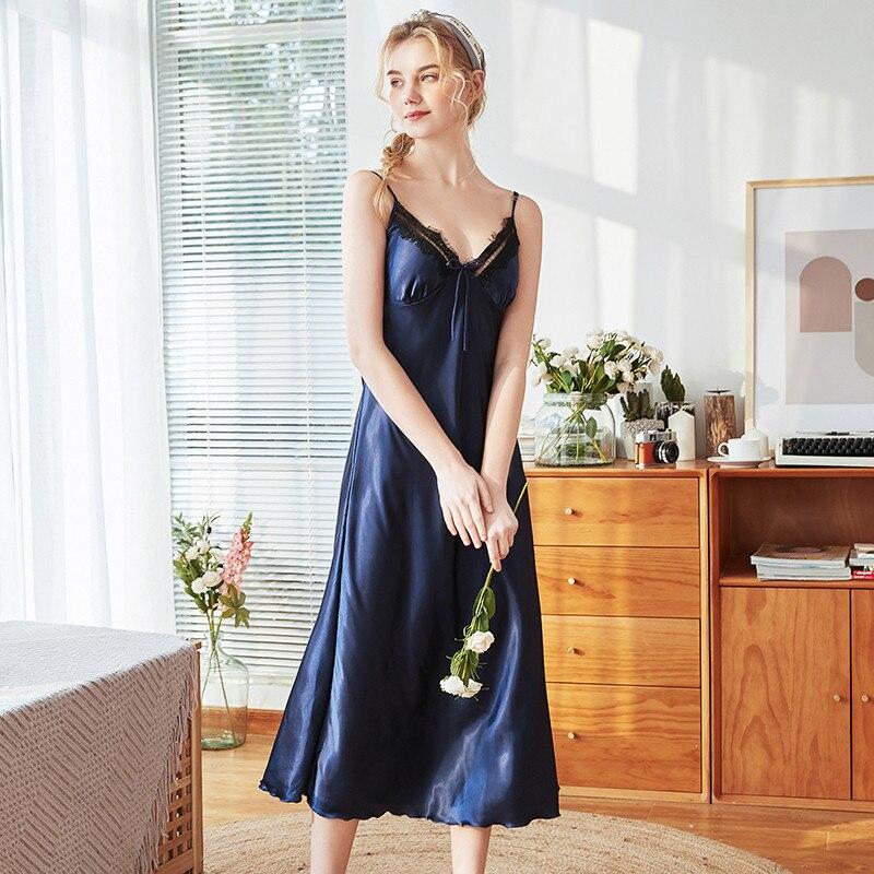 Roseheart Women Fashion Pink Blue Sexy Sleepwear Nightdress Faux Silk Lace V Neck Nightwear   Sleepshirts     Nightgown   XL Sleepwear