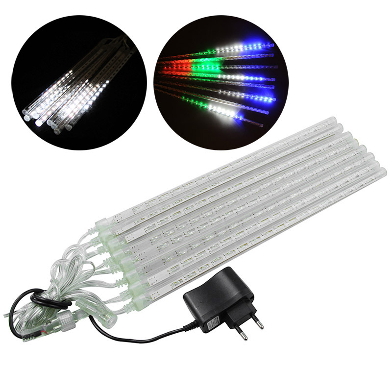 8PCS Hollow Garden Decoration Lights LED Bar Light Set Meteor Shower Rain Tubes EU/US Plug --M25
