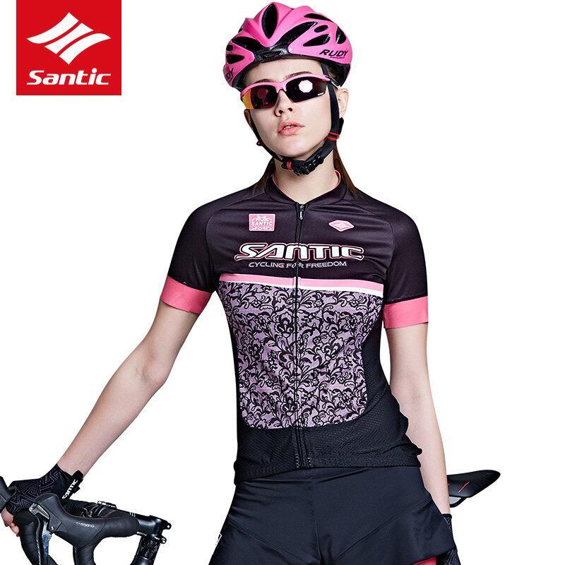 Сантич женщин лето Велоспорт Джерси + шорты/юбки про посадку ткани coolmax 4D площадку ударопрочный езда на велосипеде короткий рукав комплект велосипед Велоспорт