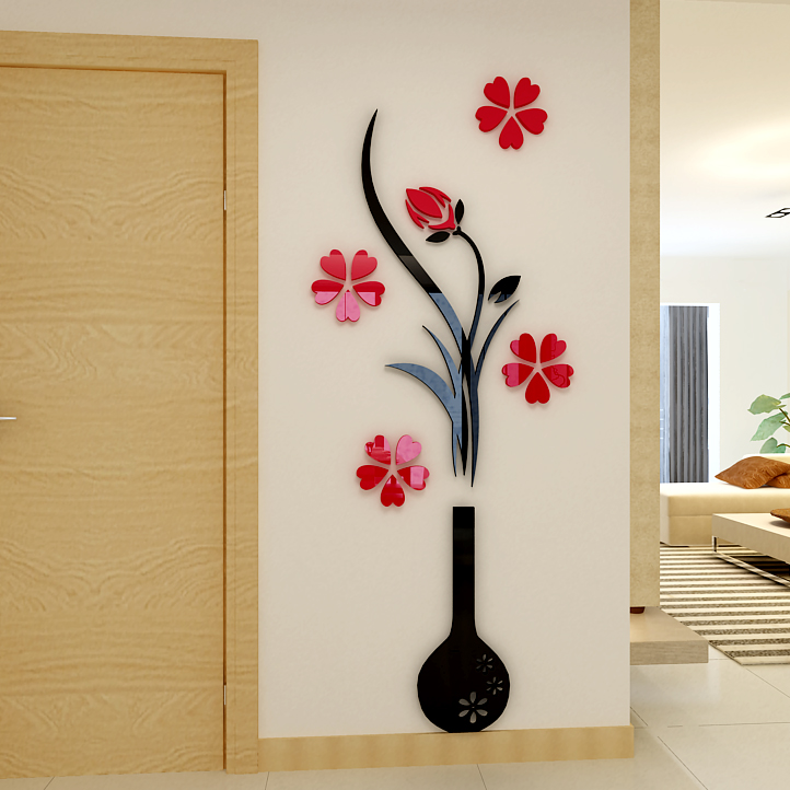 Vase Plum flower 3d three dimensional Crystal Acrylic wall stickers font b Living b font room