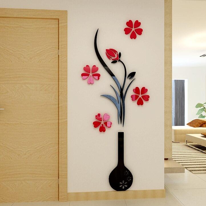 Vase Prune fleur 3d en trois dimensions Cristal Acrylique stickers muraux salon canapé chambre TV toile de fond décoration