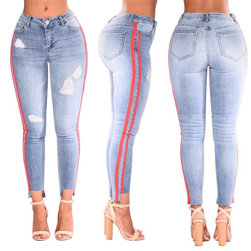 Women Indian Saree Sari Dresses India Cotton 2018 New Fashion Jeans Stretch Hole