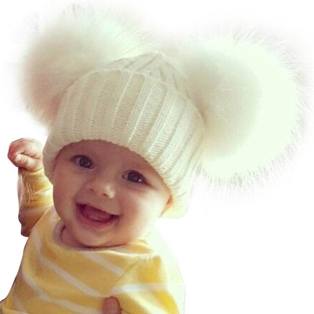 2018 зимняя теплая шерсть вязаные детские Pom Hat шапки шапочки для маленьких мальчиков девочек 13 см двойной меховым помпоном детская помпон шляпу капот