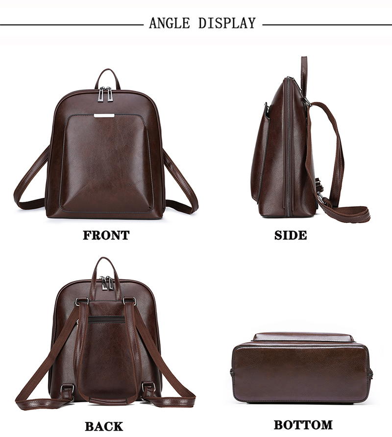 HTB1l8IeR3HqK1RjSZFgq6y7JXXan 2019 Women Leather Backpacks For Girls Sac a Dos School Backpack Female Travel Shoulder Bagpack Ladies Casual Daypacks Mochilas