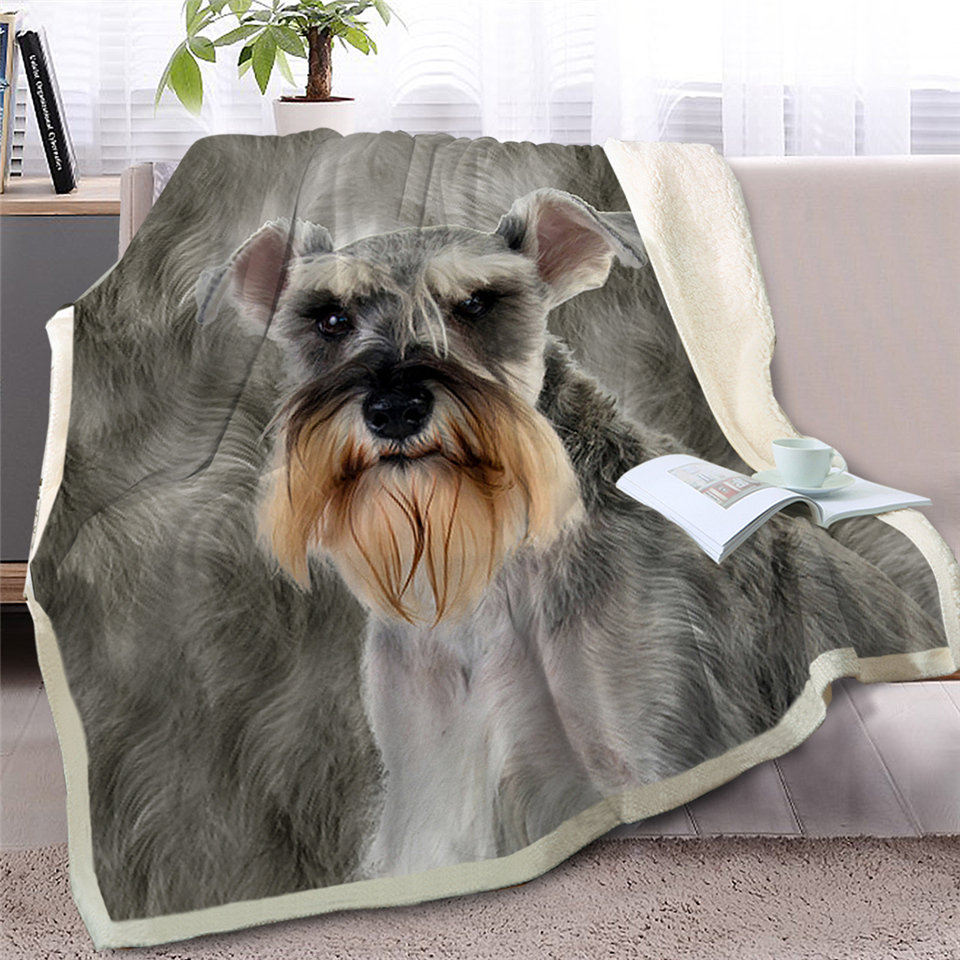 Blankets Bedding Brilliant Blessliving Schnauzer Throw Blanket On Bed Sofa 3d Dog Sherpa Fleece Blanket Animal Bedspreads Gray Fur Thin Quilt 150x200cm Easy And Simple To Handle