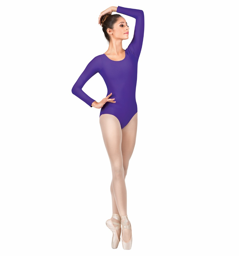 a855c39be2 XXXL Adult Lycra Blue Nylon Scoop Neck Bodysuit Womens Long Sleeve Leotard  Ladies Dancing Thong Yoga Ballet Bodysuits-in Ballet from Novelty   Special  Use ...