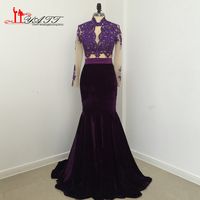 African Real Photo 2017 Evening Dresses Grape Purple Velvet Cheap Long Sexy Mermaid See Through Lace