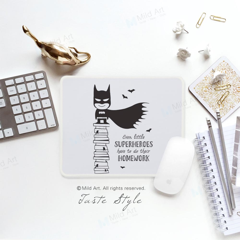 Nordic Black White Superhero Batman Quotes Game Kids Large Custom Prints Creative Gift Boy PC Gaming Computer Mouse Pads Mat Set
