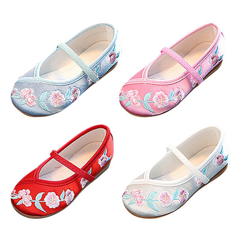 Toddler Baby Girls Ballet Flats Chinese Traditional Embroidered Shoes For Cheongsam