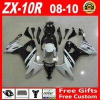 100% fit injection molding for 08 09 10 Kawasaki ZX 10R white black fairings ninja ZX10R 2008 2009 2010 fairing set RGH85