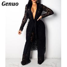 Genuo Sexy Lace Two Pieces Sets Women Hollow Out Perspective Cardigan With Belt Top and Pant Set Club V-Neck Night Party