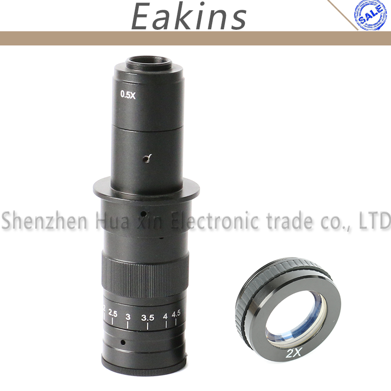Adjustable 10X-180X Magnification Zoom C-mount Lens+2.0X Barlow Auxiliary Lens for Industry Microscope Camera Eyepiece цена