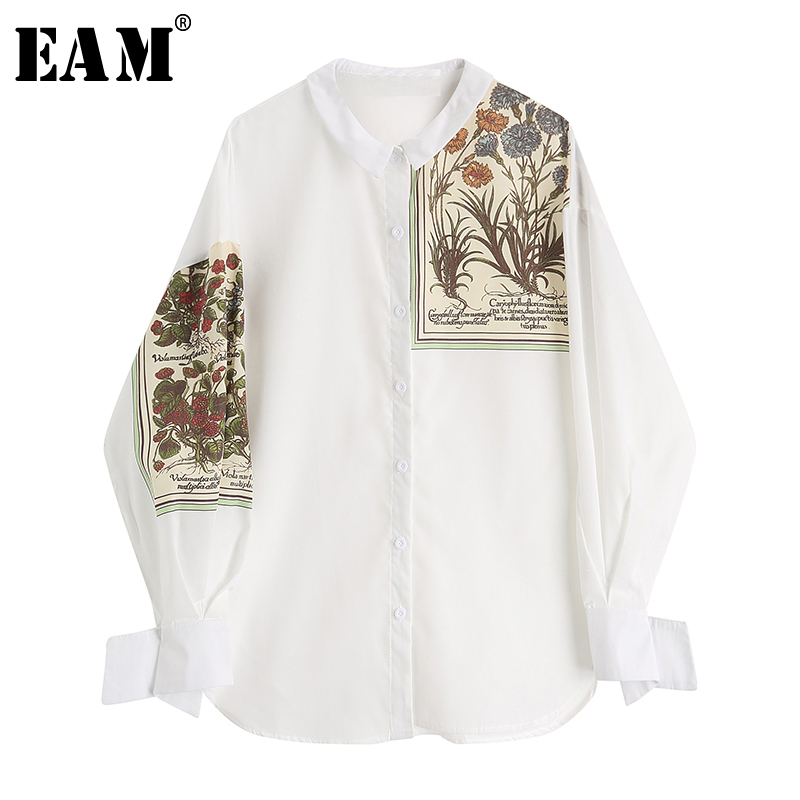 [EAM] 2019 New Autumn Winter Lapel Long Sleeve Print Pattern Single Breasted Irregular Shirt Women Blouse Fashion Tide JX975