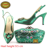 A168 Green Upscale African Style Shoes And Bag For Wedding Sexy Lady Shoes Heels Pumps Hot
