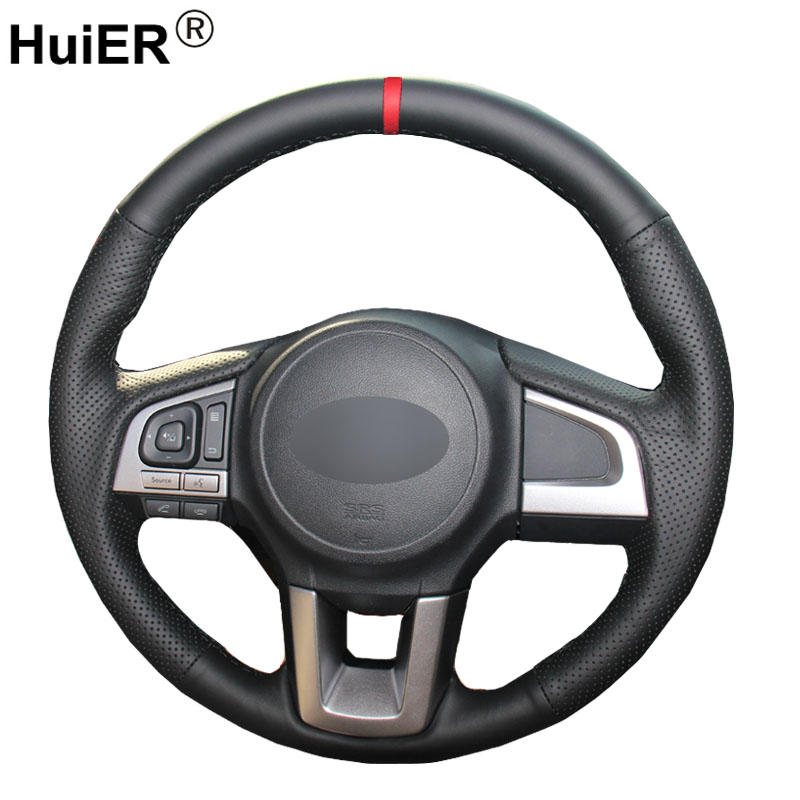 HuiER Hand Sew Car Steering Wheel Cover Breathable Red Marker For Subaru Legacy 2016 Outback 2015 2016 XV 2016 Forester 2016